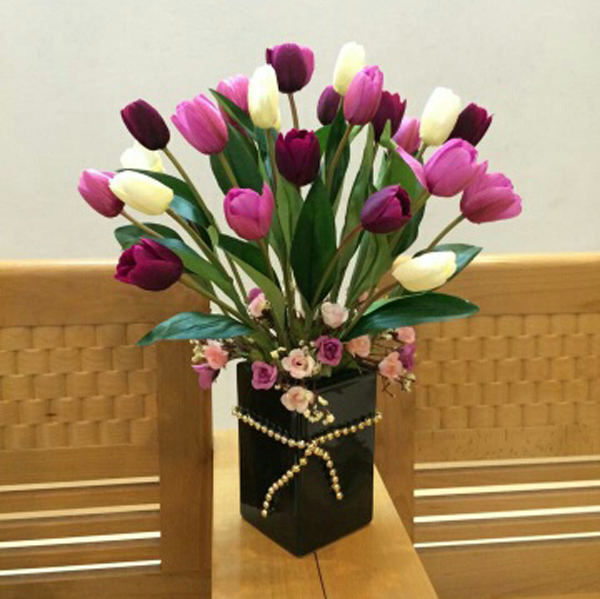 Hoa giả lụa cao cấp để bàn phòng khách ở hà nội